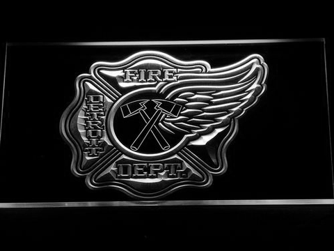 Image of Fire Department Detroit LED Neon Sign - White - SafeSpecial