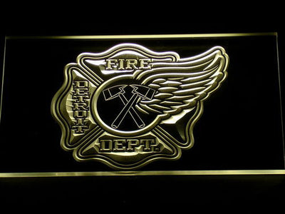 Fire Department Detroit LED Neon Sign - Yellow - SafeSpecial