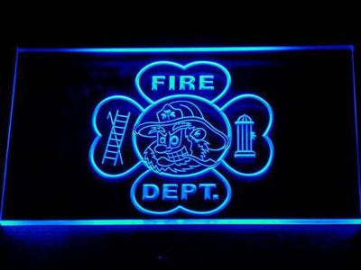 Fire Department Fighting Irish Face LED Neon Sign - Blue - SafeSpecial