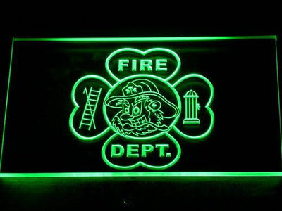 Fire Department Fighting Irish Face LED Neon Sign - Green - SafeSpecial
