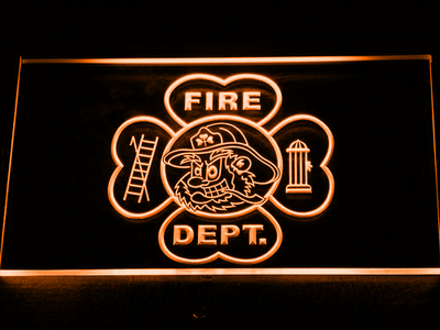 Fire Department Fighting Irish Face LED Neon Sign - Orange - SafeSpecial