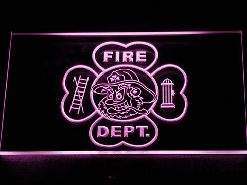 Fire Department Fighting Irish Face LED Neon Sign - Purple - SafeSpecial