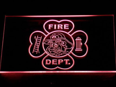 Fire Department Fighting Irish Face LED Neon Sign - Red - SafeSpecial
