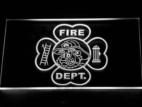 Fire Department Fighting Irish Face LED Neon Sign - White - SafeSpecial