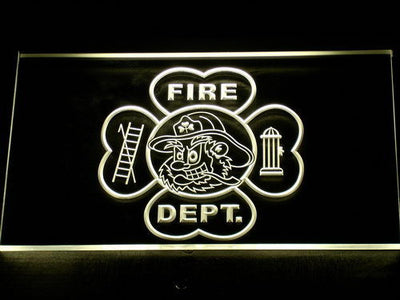 Fire Department Fighting Irish Face LED Neon Sign - Yellow - SafeSpecial
