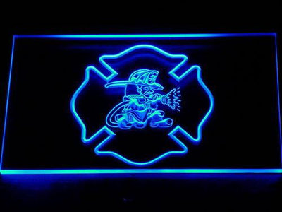 Fire Department Fighting Irish LED Neon Sign - Blue - SafeSpecial