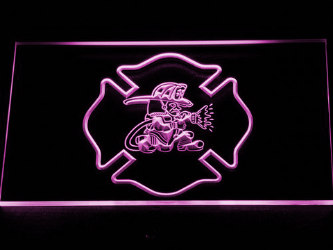 Fire Department Fighting Irish LED Neon Sign - Purple - SafeSpecial