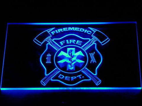 Image of Fire Department Fire Medic LED Neon Sign - Blue - SafeSpecial