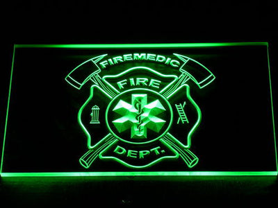 Fire Department Fire Medic LED Neon Sign - Green - SafeSpecial