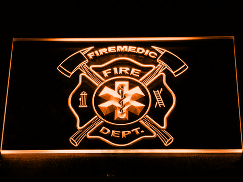 Image of Fire Department Fire Medic LED Neon Sign - Orange - SafeSpecial