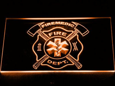 Fire Department Fire Medic LED Neon Sign - Orange - SafeSpecial