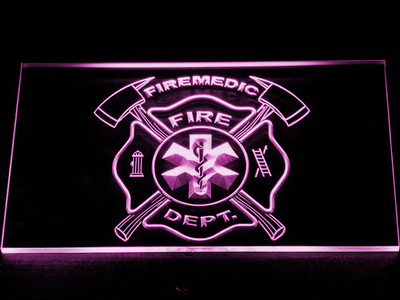 Fire Department Fire Medic LED Neon Sign - Purple - SafeSpecial