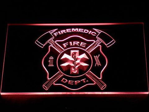 Image of Fire Department Fire Medic LED Neon Sign - Red - SafeSpecial