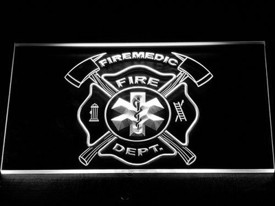 Fire Department Fire Medic LED Neon Sign - White - SafeSpecial