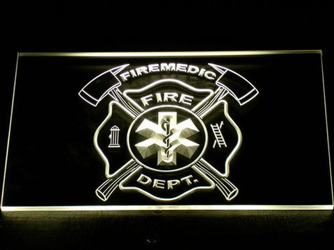 Image of Fire Department Fire Medic LED Neon Sign - Yellow - SafeSpecial