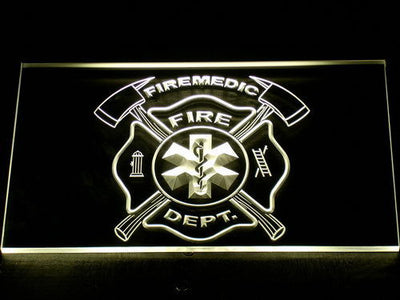 Fire Department Fire Medic LED Neon Sign - Yellow - SafeSpecial