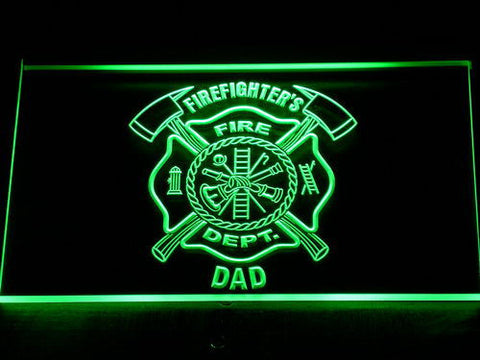 Fire Department Firefighter's Dad LED Neon Sign - Green - SafeSpecial