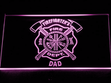 Fire Department Firefighter's Dad LED Neon Sign - Purple - SafeSpecial