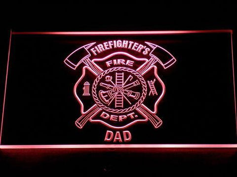 Fire Department Firefighter's Dad LED Neon Sign - Red - SafeSpecial