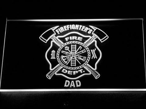 Fire Department Firefighter's Dad LED Neon Sign - White - SafeSpecial