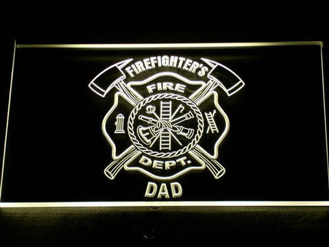 Fire Department Firefighter's Dad LED Neon Sign - Yellow - SafeSpecial