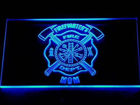 Image of Fire Department Firefighter's Mom LED Neon Sign - Blue - SafeSpecial