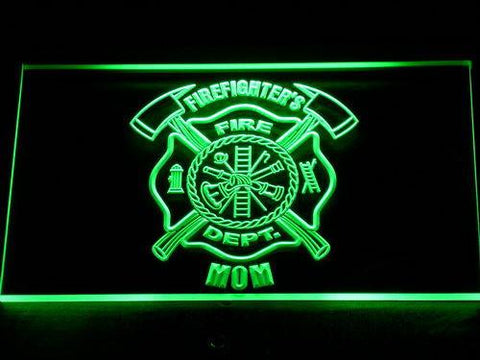 Image of Fire Department Firefighter's Mom LED Neon Sign - Green - SafeSpecial