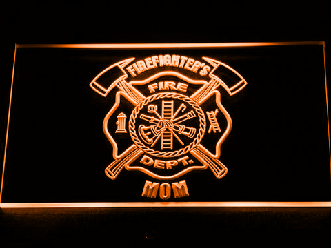 Image of Fire Department Firefighter's Mom LED Neon Sign - Orange - SafeSpecial