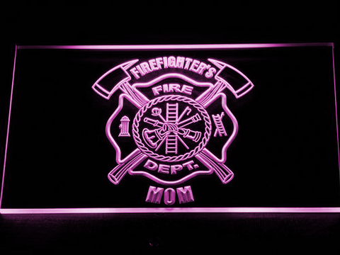 Image of Fire Department Firefighter's Mom LED Neon Sign - Purple - SafeSpecial