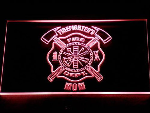 Image of Fire Department Firefighter's Mom LED Neon Sign - Red - SafeSpecial
