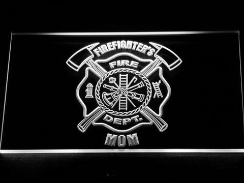 Image of Fire Department Firefighter's Mom LED Neon Sign - White - SafeSpecial