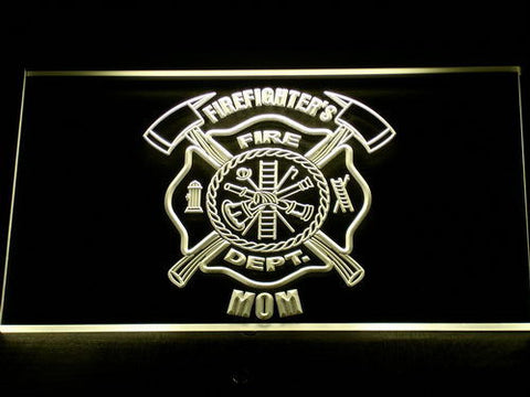 Image of Fire Department Firefighter's Mom LED Neon Sign - Yellow - SafeSpecial