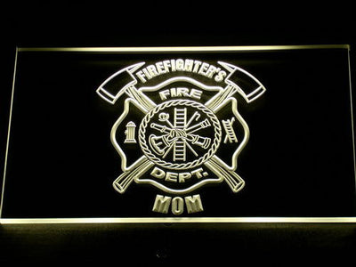 Fire Department Firefighter's Mom LED Neon Sign - Yellow - SafeSpecial