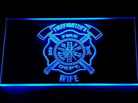 Image of Fire Department Firefighter's Wife LED Neon Sign - Blue - SafeSpecial