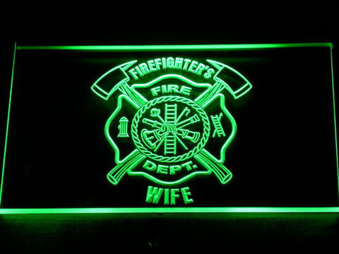 Image of Fire Department Firefighter's Wife LED Neon Sign - Green - SafeSpecial