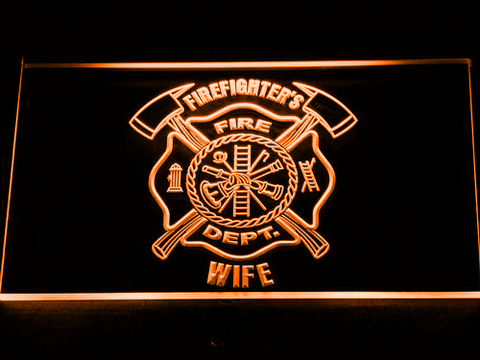 Image of Fire Department Firefighter's Wife LED Neon Sign - Orange - SafeSpecial