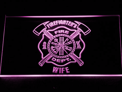 Image of Fire Department Firefighter's Wife LED Neon Sign - Purple - SafeSpecial