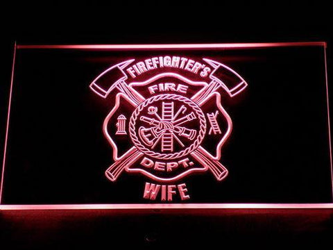 Image of Fire Department Firefighter's Wife LED Neon Sign - Red - SafeSpecial