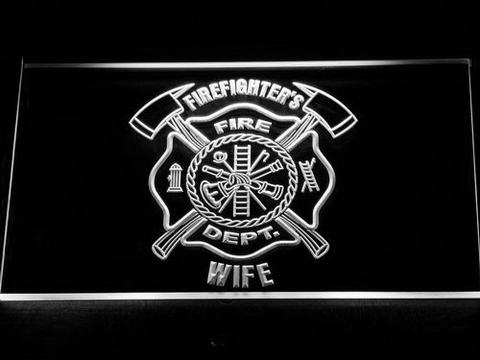Image of Fire Department Firefighter's Wife LED Neon Sign - White - SafeSpecial