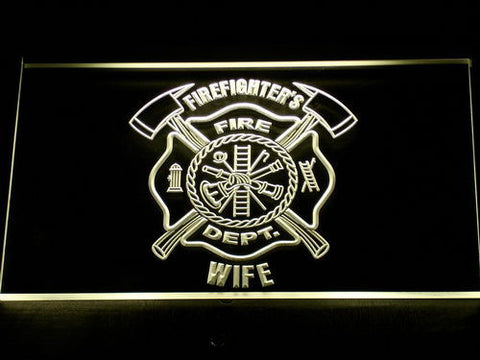 Image of Fire Department Firefighter's Wife LED Neon Sign - Yellow - SafeSpecial