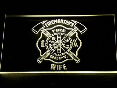 Fire Department Firefighter's Wife LED Neon Sign - Yellow - SafeSpecial