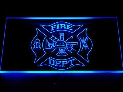 Fire Department LED Neon Sign - Blue - SafeSpecial