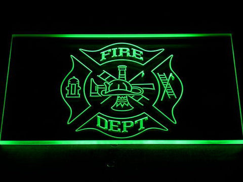 Image of Fire Department LED Neon Sign - Green - SafeSpecial