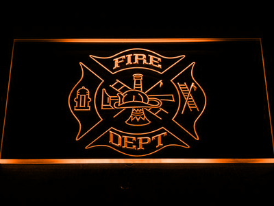Fire Department LED Neon Sign - Orange - SafeSpecial