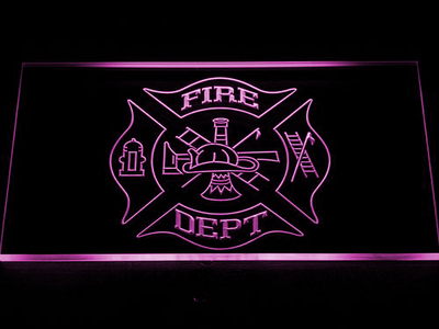 Fire Department LED Neon Sign - Purple - SafeSpecial