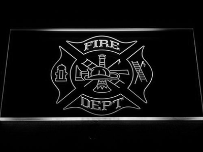 Fire Department LED Neon Sign - White - SafeSpecial