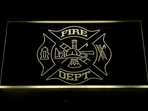 Image of Fire Department LED Neon Sign - Yellow - SafeSpecial