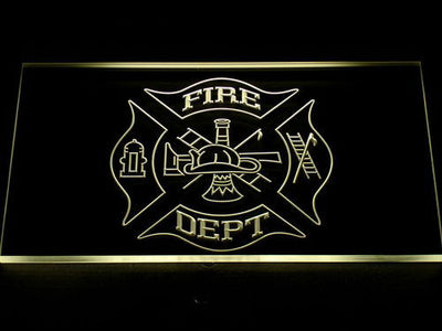 Fire Department LED Neon Sign - Yellow - SafeSpecial