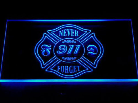 Image of Fire Department Never Forget 911 LED Neon Sign - Blue - SafeSpecial