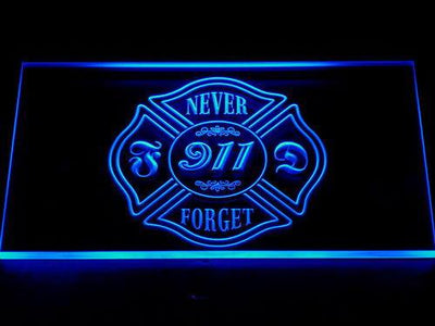 Fire Department Never Forget 911 LED Neon Sign - Blue - SafeSpecial